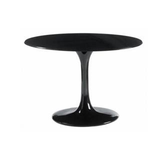 Table ronde de repas design TULIPE laquée noir 90 cm