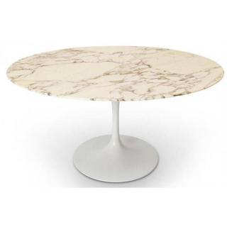 Table ronde de repas design TULIPE plateau en marbre gris beige.