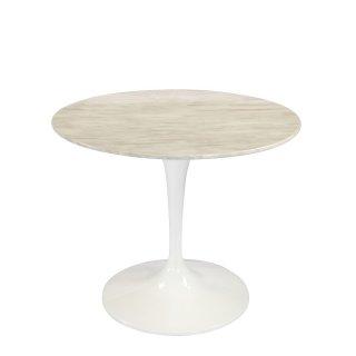 Table ronde de repas design TULIPE plateau en marbre gris beige 90 cm.