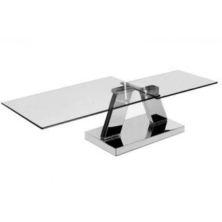 Table basse design TWIN GLASS à double plateaux pivotants