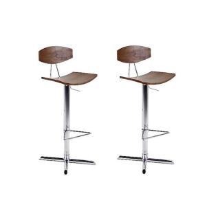 Lot de 2 chaises de bar UPTOWN chromée bois noyer