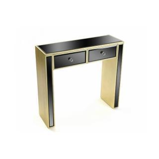 VARESE Console en verre noir design doré 2 tiroirs