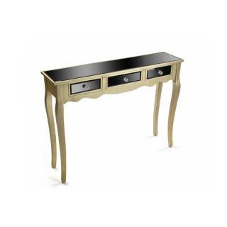 VARESE Console en verre noir design doré 3 tiroirs