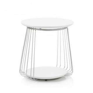 Table basse VELLA 50 cm design blanc mat
