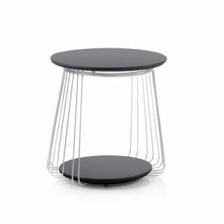 Table basse VELLA 50 cm design laque noir mat