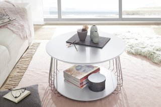 Table basse VELLA 70 cm design laque blanc mat