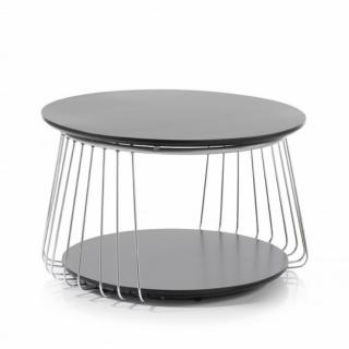 Table basse VELLA 70 cm design laque noir mat