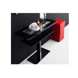 Console VENEZIA  laque noir design 2 plateaux