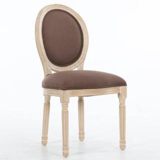 Chaise médaillon VERSAILLES style louis XVI lin marron