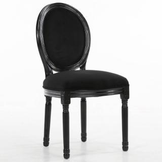 Chaise médaillon VERSAILLES style louis XVI velours noir