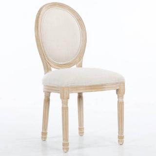 Chaise médaillon VERSAILLES style louis XVI lin beige