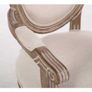 Fauteuil médaillon VERSAILLES style louis XVI lin beige clair et chêne gris