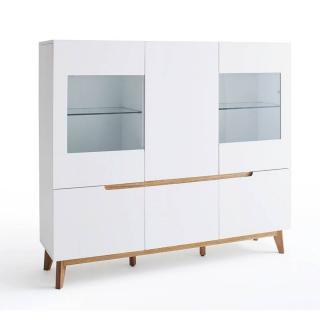 Vitrine style scandinave CLEMENT 6 portes laqué blanc mat