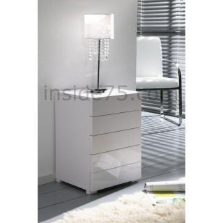 WHITE chevet 5 tiroirs laqué blanc design