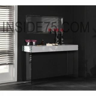 WHITE Console laquée blanc brillant avec piétement en verre - 3 tiroirs