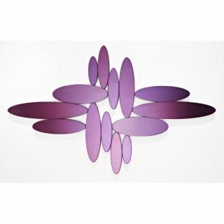 YONAGUNI Miroirs ovales en verre mauve biseauté