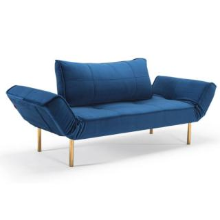 Canape design ZEAL GOLD Velvet Royal Blue convertible lit 200*70 cm piétements dorés