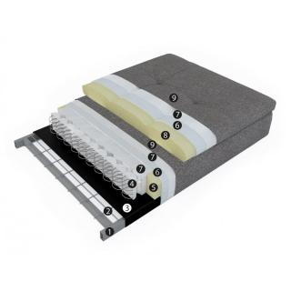 INNOVATION LIVING  Canape design ZEAL STYLETTO convertible lit 200*70 cm tissu Gris Twist Granite