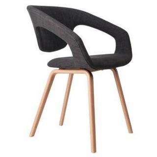 ZUIVER Chaise  FLEX BACK gris graphite piétement bois