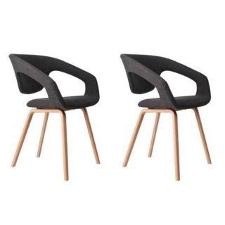 ZUIVER lot de 2 chaises FLEX BACK gris graphite piétement bois
