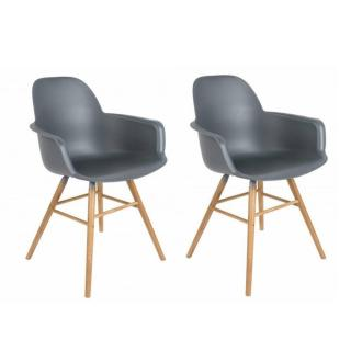 Lot de 2 chaises avec accoudoirs design scandinave ALBERT KUIP gris graphite